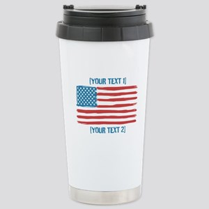[Your Text] 'Handmade' US Flag Stainless Steel Tra